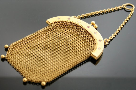 Antique Mesh Purse - Gold Purse with Rubies and Diamonds
