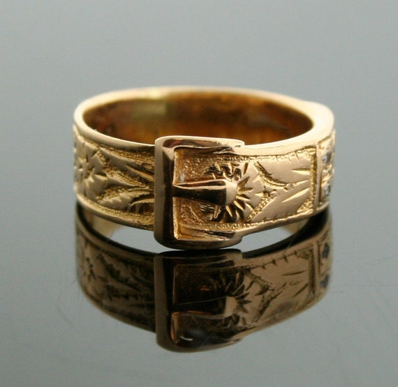 Antique Ring - Antique Buckle Ring - 18k Yellow Gold