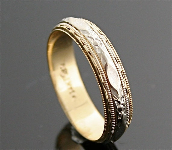 Antique Wedding Band - 1930's Two Tone Band