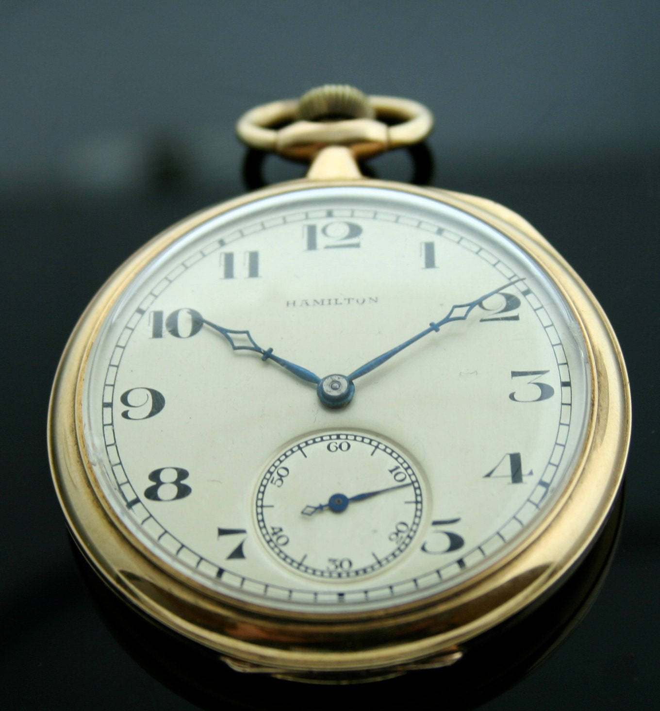 vintage 14k yellow gold hamilton pocket by