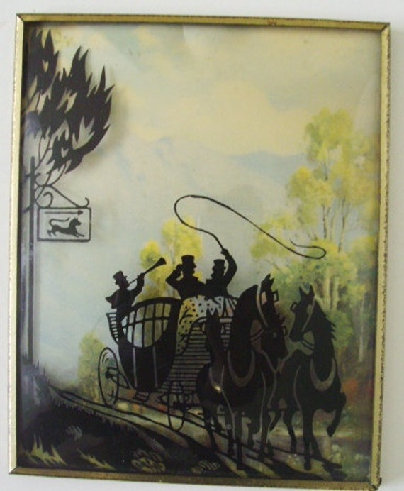 Antique Silhouette Reverse painting on convex glass Original