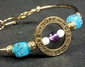 Amethyst Catseye and Blue Glass Beaded HOPE Bracelet with Hand Hammered clasp