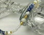 Princess Sodalite Semi-Precious Stone and White Coral Bracelet with Japanese Glass Beads