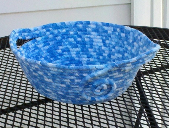 Serenity Baby Blue Coiled Fabric Basket