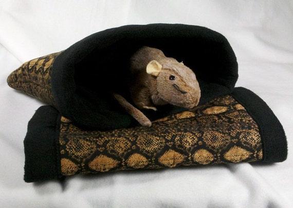 Caramel Snakeskin Print Sleeping Snuggle Bag plus Matching Play Tunnel, Hedgehog, Rat, Sugar Glider, Guinea Pig