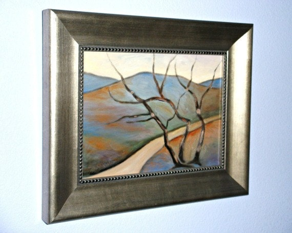Framed art original painting abstract landscape oil on 9 x 12 panel Three Trees