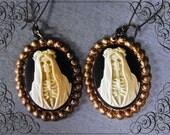 Santa muerte cameo earrings