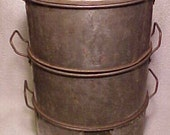 c1800s Large Country Primative McAleer Tin Four Piece Steamer with handles and Copper Bottom and Tin Cover