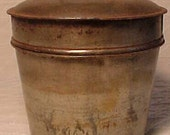 c1890-20s Country Primitive Tin Food Pail Can With Cover, Another Great Vermont Attic Find