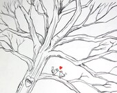 Custom Hand Drawn Wedding Tree Guest Book Alternative, Lovebirds, Thumbprint Guestbook, Free Gift with Purchase