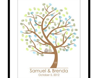 DIY Wedding Tree Guest Book - Wedding Registry - Personalized Guestbook - Thumbprint Signature Guestbook - Any Sizes - Printable PDF Poster
