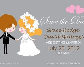 DIY Digital Custom Wedding Invitation - Save The Date Card - 4 x 6 in - PDF Digital File