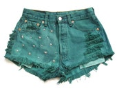 Levi stars studded green high waisted shorts M