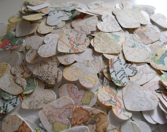 1000 World Map Paper Confetti for Weddings and Parties