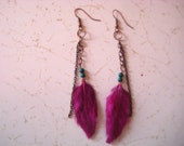Deep purple feather earrings with teal beads