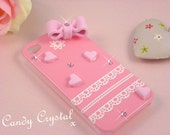 MADE 2 ORDER Extra Cute Romantic Pink Heart, Bow and SWAROVSKI Elements iPhone 4 / 4s Case - Kawaii, Zakka, Kitsch