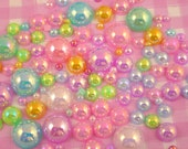 100pcs AB Flat Back Pearls inc. Giant Pearls for Decoden, Jewellery Jewelry Making Scrapbooking etc