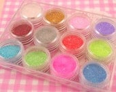 Fine Glitter Powder Set 12 Pots Mixed Colours - Crafts, Decoden, Card Making etc