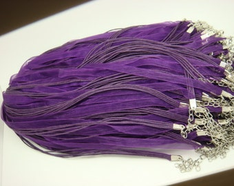 15pcs 17-20 inch adjustable purple organza ribbon necklace cords with lobster clasps and extension chain
