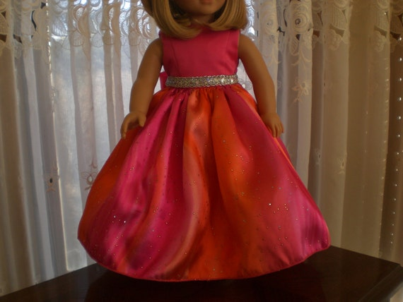 Hot Pink and Orange Satin Party Dress