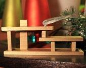 Mini Wooden Retro Ranch House Ornament - Gold