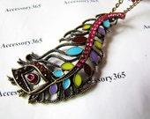 ancient  necklace feather pendant women chain long necklace metal chain necklace  XL10