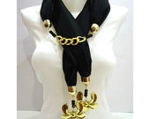 Handmade women jersey scarf, 2012 Spring trends and fashion, Black