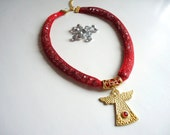 Angel, Red , Sparkles Crystal Beads, Spring trends and Fashion, Evil eye, pendant, Red, For Her
