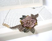 Lace Necklace, Women accessory,  3D Flower, Brown and Green, Natural