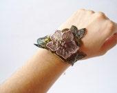 Green and Brown Lace Bracelet, Women accessories,  3D Flower, Bridesmaids, Flower girls accessories