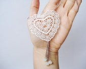 Lace Necklace, Women accessory,  Ivory Heart Necklace