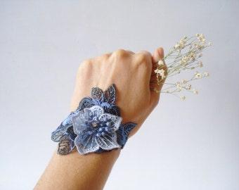 Blue Lace Bracelet, Women accessories,  3D Flower, Bridesmaids Accessories