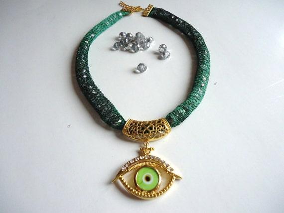 RESERVED LISTING - Evil eye women necklace jewelry, 2012 new design green evil eye