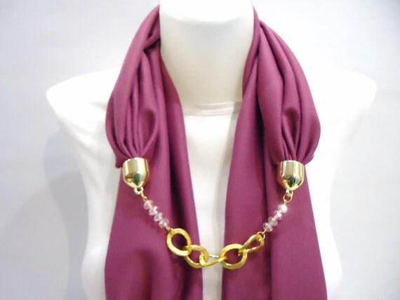 Fuchia Rose Woman Scarf For Spring, Unique Fashion Accessories For Women,