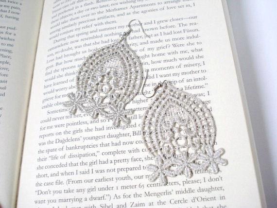 Silvery Lace Earrings, Women accessories,