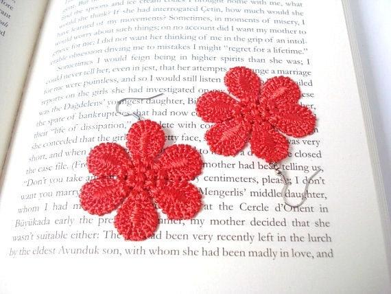 Red Lace Earrings, Women accessories, Flower,