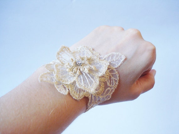 Golden Tinsel Lace Bracelet, Women accessories, Bridal cuff, Bridesmaids Accessories, Homecomig,
