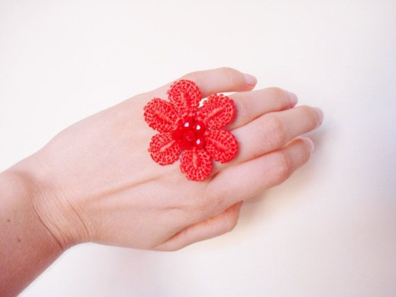 Red Coral Lace Ring for Bridesmaids, For Women,  Flower Ring