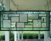 Seafoam Green, Textured Clears & Beveled Stained Glass Window Panel
