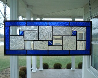 Stained Glass Window Panel Blue, Clear Textures and Bevels