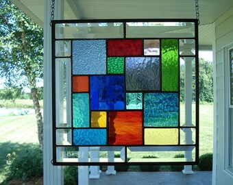 Stained Glass Window Panel Multi Colors & Bevels