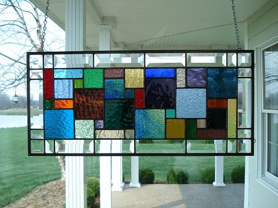 Multi Color & Clear Beveled Stained Glass Window Panel
