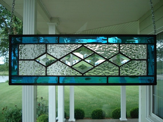 Aqua Blue Amp Beveled Stained Glass Window Panel By