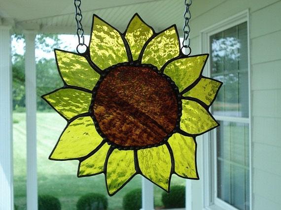 Yellow Stained Glass Sunflower Suncatcher Window Panel Window