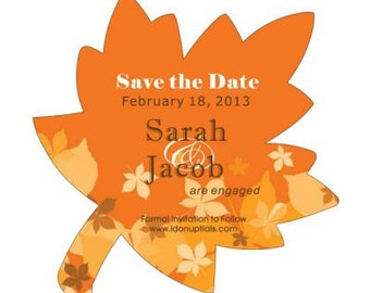 Save the Date Magnets Leaf Shape for Fall Wedding
