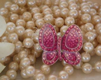 Buterfly Crystal Brooch, Vintage Design , Pink crystals