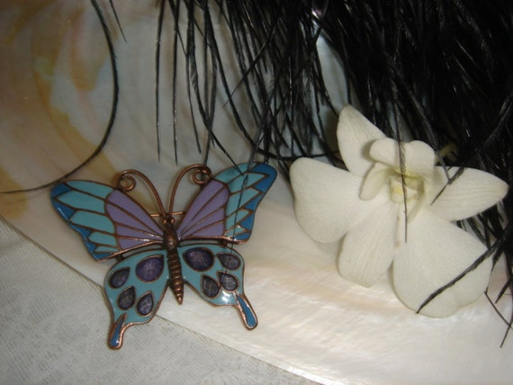 Vintage Brooch, Enameled and  stones, Butterfly design