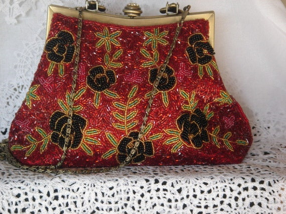 Vintage Beaded Purse. Stunning Crystal Closure. One of a kind