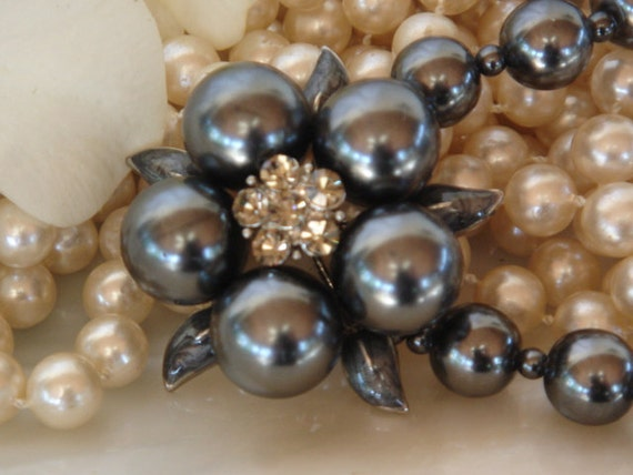Vintage Pearl Necklace, Large Faux Grey Pearls and Smokey Crystals, Like New
