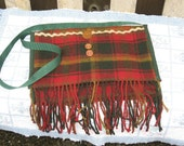 wool red green plaid fringed bag